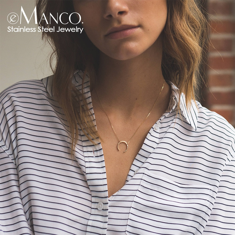 e-Manco Punk Stainless Steel Necklace women Horn Pendant Choker Neklace for women Statement Necklace Minimalist Jewelry