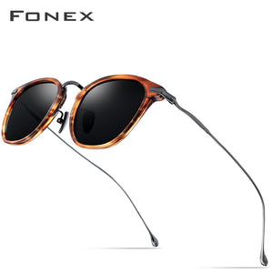 FONEX Pure B Titanium Acetate Polarized Sunglasses Men New Fashion Brand Designer Vintage Square Sun Glasses for Women 839