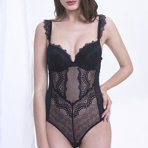 Bodysuits Women Padded Push Up Hollow Out Back Underwire Ruffles Straps Lingerie Women Shapewear Peacock Feather For Small Chest