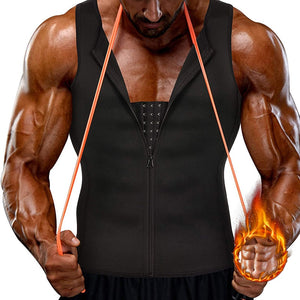 Men Shapewear Slimming Neoprene Body Shaper Compression Shirt Tank top with Zipper Underwear for Tummy Control Girdle Corset