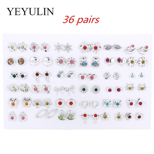 36Pairs/18pairs Earrings Mixed Styles Rhinestone Sun Flower Geometric Animal Plastic Stud Earrings Set For Women Girls Jewelry