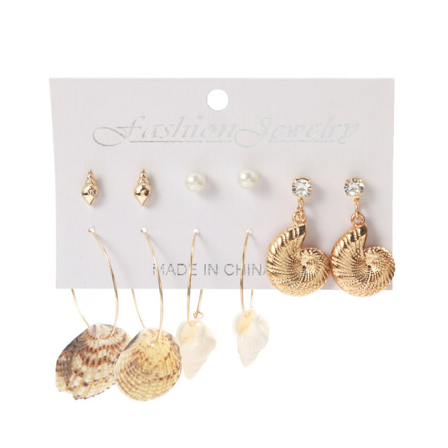 WYBU 24 Style Shell Series Dangle Drop Earring Set For Women Starfish Summer Earing Set 2020 Brincos Female Fashion Jewelry