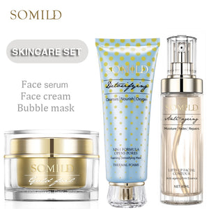 SOMILD Korean SkinCare Set Treatment Detox Bubble Mask Anti Aging Wrinkle Remove Face Cream Whitening Moisturizing Facial Lotion