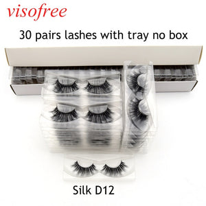 Visofree 30 Pairs/lot Thickness Soft Faux 3D Silk Lashes Eyelash Handmade Extensions Makeup False Lashes New Arrival Silk-D06