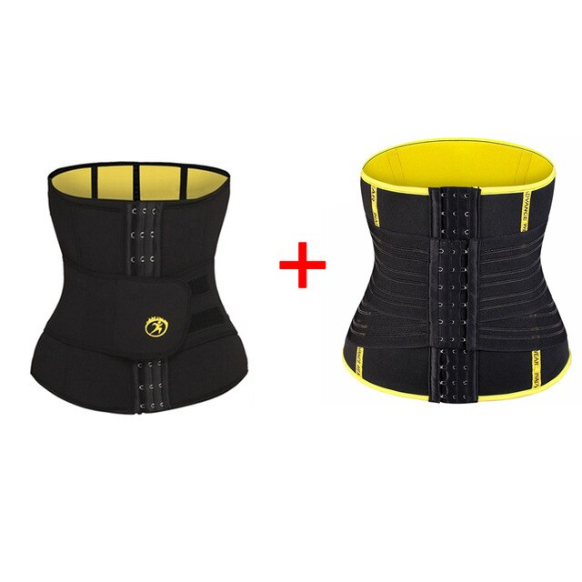 LANFEI Adjustable Double Wasit Trainer Belt Men Slimming Body Shaper Sweat Corset Weight Loss Hot Neoprene Sauna Sport Shapewear
