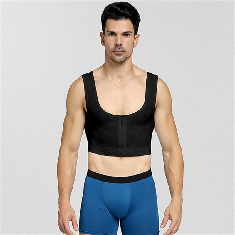 Zipper Shapers Man Gynecomastia Vest Slimming Corset Chest Control Shaper Men Tank Tops Slim Underwear Shapewear M-XXL