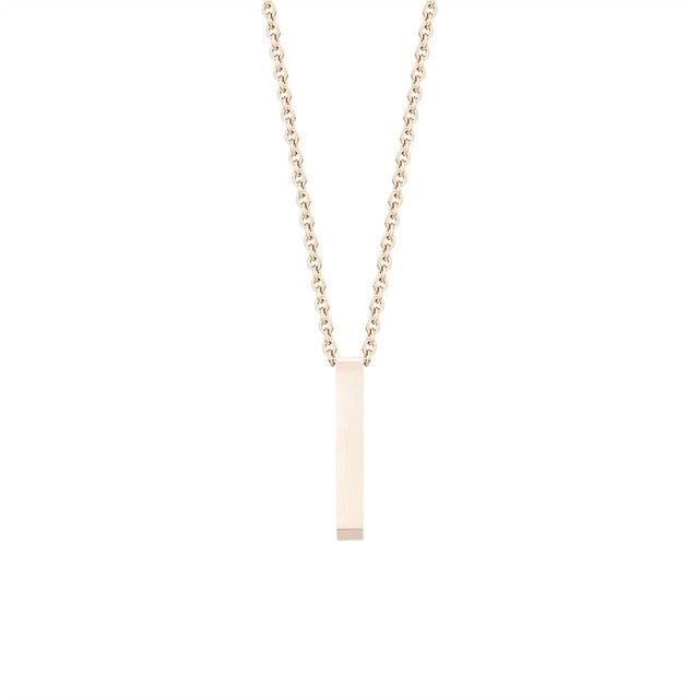 Vertical Long Bar Chain Necklace Minimalist Jewelry Rose Gold Color Stainless Steel  Square Bar Pendant Necklace Women Naszyjnik