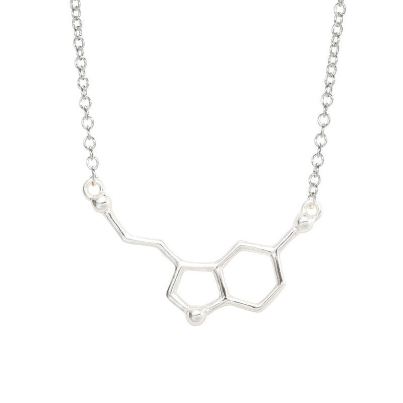 SMJEL New Serotonin Necklace for Women Molecule Chemistry Necklace Unique Charm Pendant Friendship Minimalist Brand Jewelry
