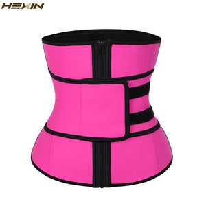 HEXIN Pink Latex Waist Trainer with Slimming Belt Girdles Firm Control Plus Size Body Shaper Zip Shapewear Fajas Colombianas