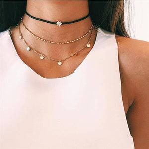 Boho Multi Chain Layered Moon Necklace Choker Vintage Statement Necklaces for Women Girls Collar Mujer Minimalist Jewelry
