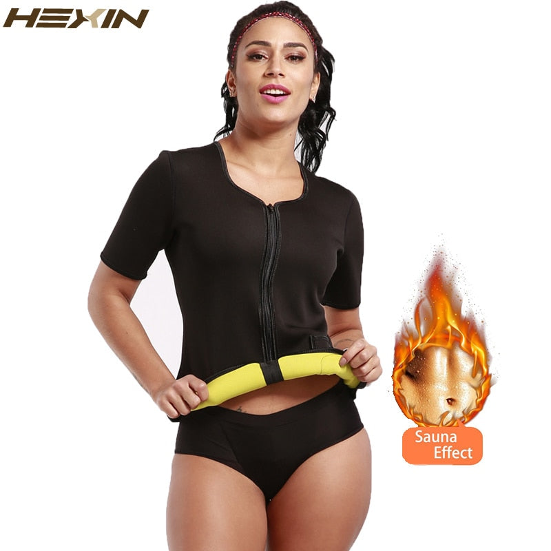 HEXIN Sweat Body Shaper Shirt  Thermo Slimming Sauna Suit Weight Loss Black Shapewear with Sleeves Neoprene Waist Trainer