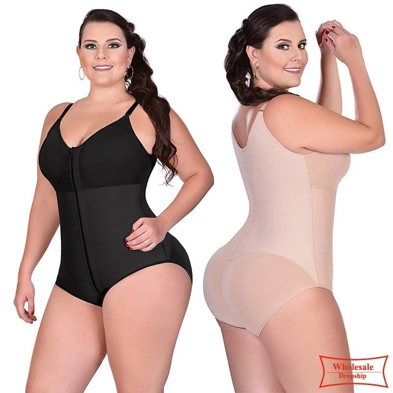 Women Shapewear  Waist trainer Butt Firm Tummy Control Zip Front Open Bust Latex Bodysuit Full Body Shaper Slimming Plus Size 6X