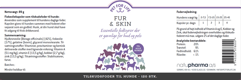 Pet for Life - Fur & Skin fodertilskud 2 pak