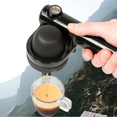 Portable Coffee Machine 16Bar Hand Pressure Espresso Machine Outdoor Travel Manual Coffee Maker Black 44-46mm Coffee Cake Filter