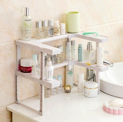 2 Layers Kitchen Cabinet Cupboard Organizer Adjustable Kitchen Storage Shelf Spice Rack Countertop Organizer Cabinet Storage