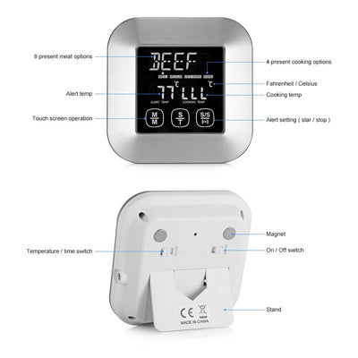 TS - 82 Digital Meat Thermometer with 3 Stainless Steel Temperature Probes for Kitchen Cooking