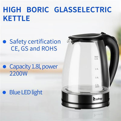 ZOKOP HD-1857-A 220V 2200W 1.8L Electric Glass Kettle UK Plug