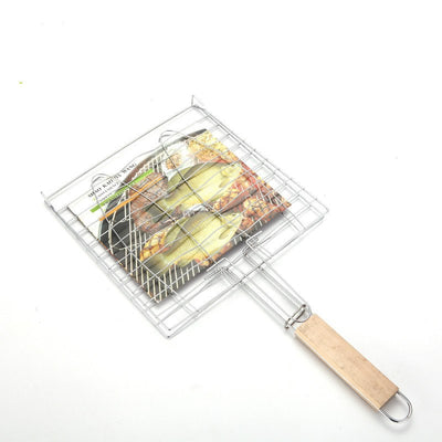 BBQ Barbecue 2 Fish Grilling Basket Roast Grill Tool with Wooden Handle