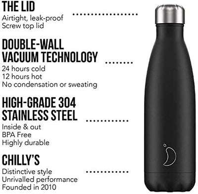 Chilly's Water Bottle | Stainless Steel and Reusable | Leak Proof, Sweat Free | Black | 260ml: Amazon.co.uk: Sports & Outdoors