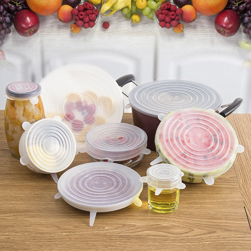 6 Pcs Silicone Stretch Lids Reusable Airtight Food Wrap Covers Keeping Fresh Seal Bowl Stretchy Wrap Cover Kitchen Cookware