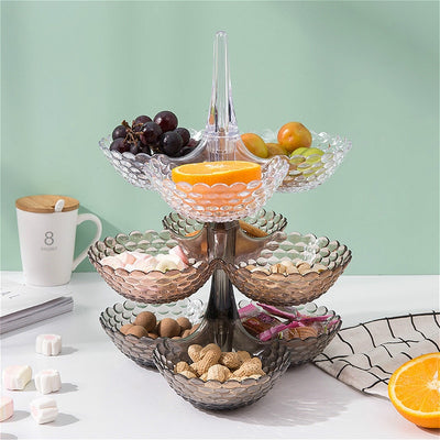 Stacked  European Storage Tray Multi-layer Plastic Plate Dried Fruit Snack Platter Bowl Table Snack Candy Trays Rack Organizer