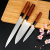 "BIGSUNNY Sashimi Sushi Deba Knife, German Stainless Steel Pro Slicing Knife, 9""Yanagiba / 7""Deba / 5""Utility, Rose Wood Handle