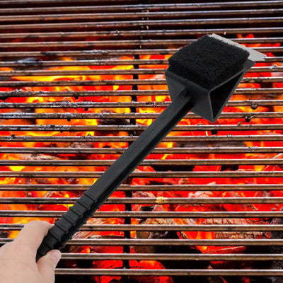 BBQ Cleaning Brush Long Handle Barbecue Grill Oven Cleaning 3 in 1 Corner Copper Wire Brush Copper Wire Sponge Shovel