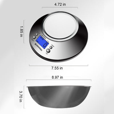 Digital Kitchen Scale High Accuracy 11lb/5kg Food Scale with Removable Bowl Room Temperature, Alarm Timer Stainless Steel Libra
