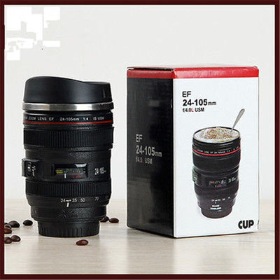 New 24-105MM Lens THERMOS Camera Travel Coffee Tea Cup Mug Lens Creative Cup Stainless Steel Brushed Liner Black
