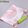 ERMAKOVA Silicone Baking Mat Thick Non-Slip Sheet with Measurements BPA Free Toaster Oven Liner Fondant Pie Cookie Macaron Pad