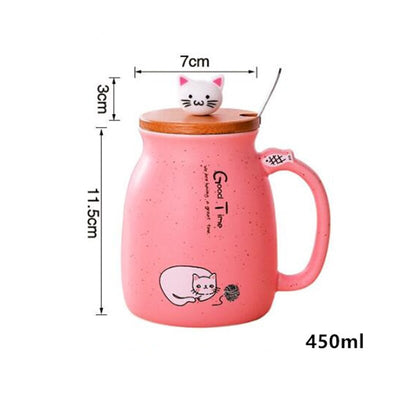 2019 New Color Cat Heat-resistant Mug Cartoon With Lid 450ml Cup Kitten Coffee Ceramic Mugs Children Cup Office Drinkware Gift