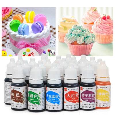 24 Colors Edible Pigment 10ML Macaron Cream Food Coloring Ingredients Cake Fondant Baking Cake Edible Color Pigment Pastry Tools