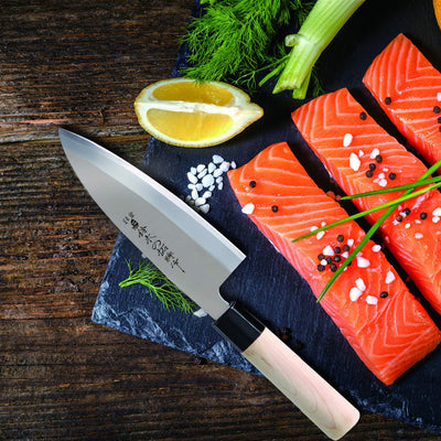 TUO CUTLERY Deba knife - Japanese HC Stainless Steel Sashimi Sushi Kitchen Knife - Non-slip Ergonomic White Handle - 6.5""