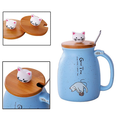 Creative Color Cat Heat Resistant Mok Cartoon With Cover 420ml Cup Kitten Coffee Ceramic Mugs Kids Cup Office Drinking Gift