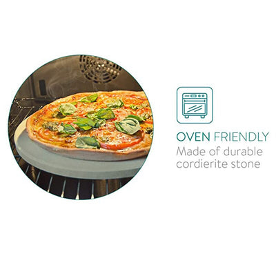 13 Inch Pizza Extra Thick Stone for Baking Pizza Tools Oven&BBQ Grill Baking Slab Kitchen Bread Tray with Support Frame