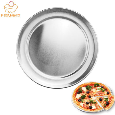 6/8/10/12/14/16 Inch Aluminum Pizza Pan Wide Rim Round Pizza Oven/Baking Tray Reusable Non Stick Baking Sheet Pizza Tray     039