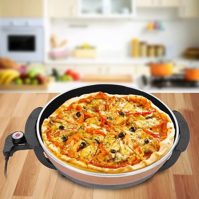 1500W Multifunctional Non-stick Frying Pizza Pan Electric Heating Skillet with Lid UK Plug 220V,