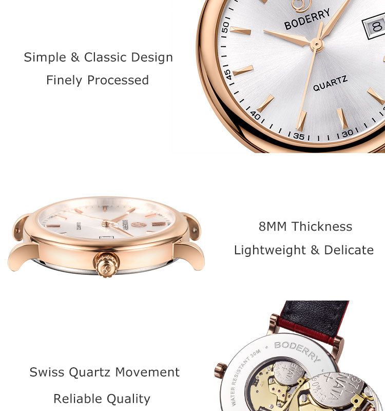 LUXURY BDQ002 Women's Watch Waterproof Stainless Steel Gold Case Genuine Leather strap Swiss Quartz Movement 36MM centent image 1
