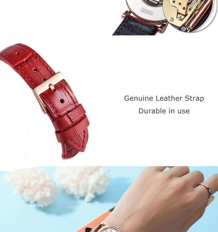 LUXURY BDQ002 Women's Watch Waterproof Stainless Steel Gold Case Genuine Leather strap Swiss Quartz Movement 36MM centent image 7