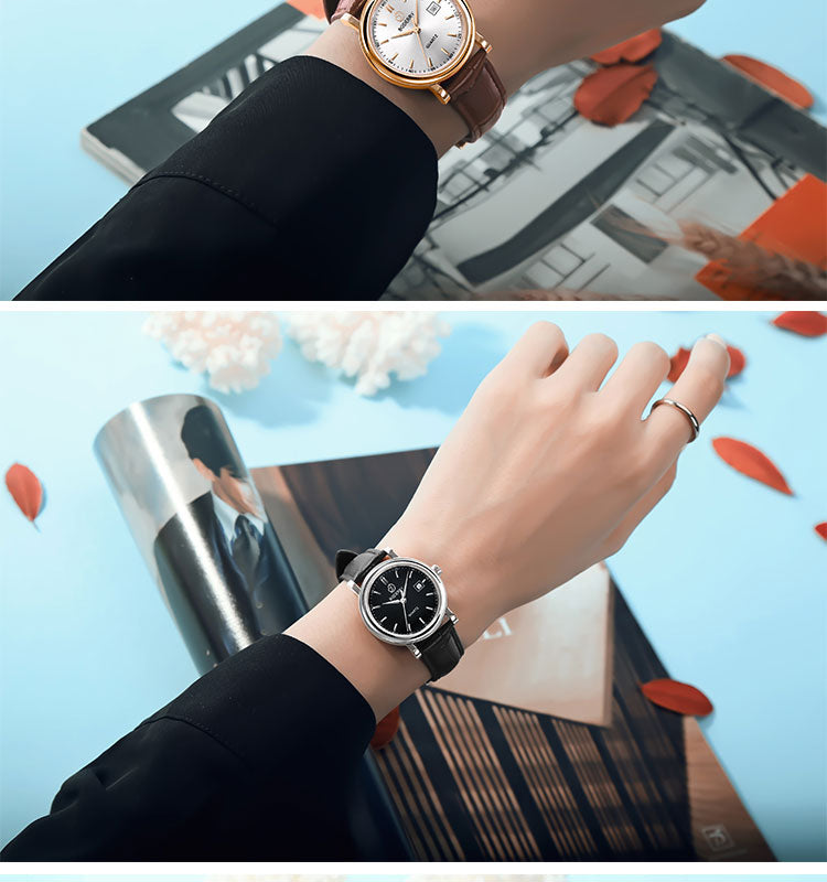 LUXURY BDQ002 Women's Watch Waterproof Stainless Steel Gold Case Genuine Leather strap Swiss Quartz Movement 36MM centent image 8