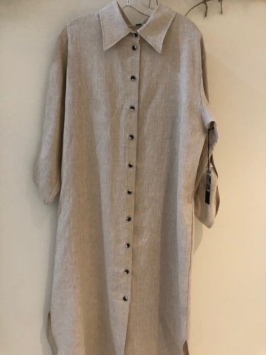 Front/Back Button Dress-Natural(PER)