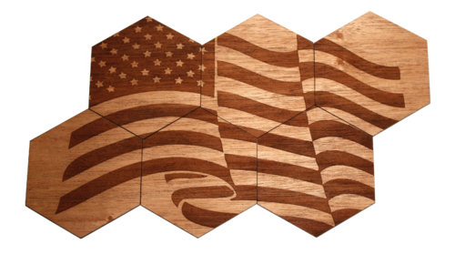 Solid Wood Coasters | 6-Pack | American Flag