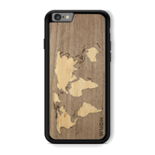 Load image into Gallery viewer, Slim Wooden Phone Case (Walnut Inlay) | World Map