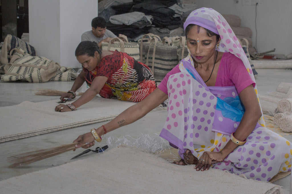 Our fair trade artisans making rugs in India