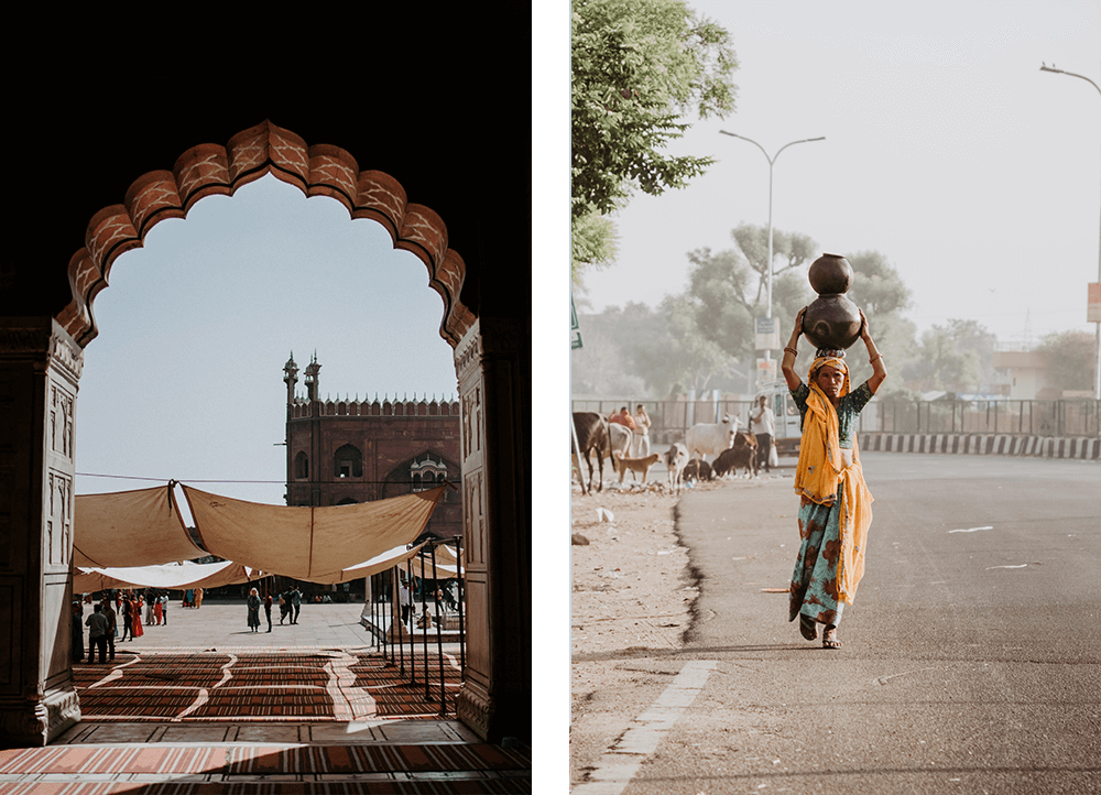 Through he arch, artisans in India
