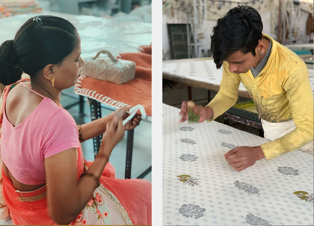Artisans in India using traditional weaving and block printing techniques