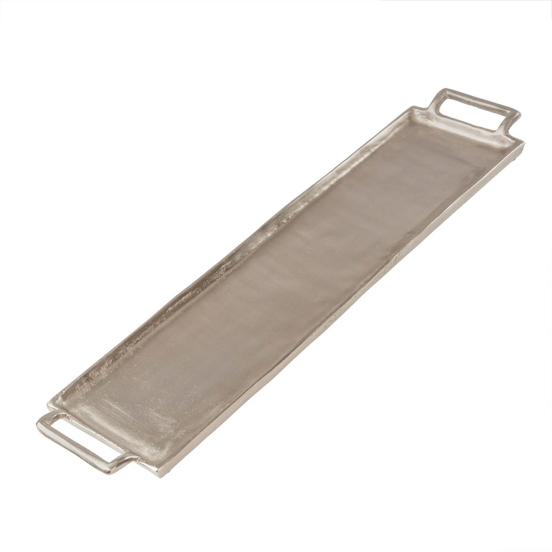 Long Metal Coffee Table Tray | Silver