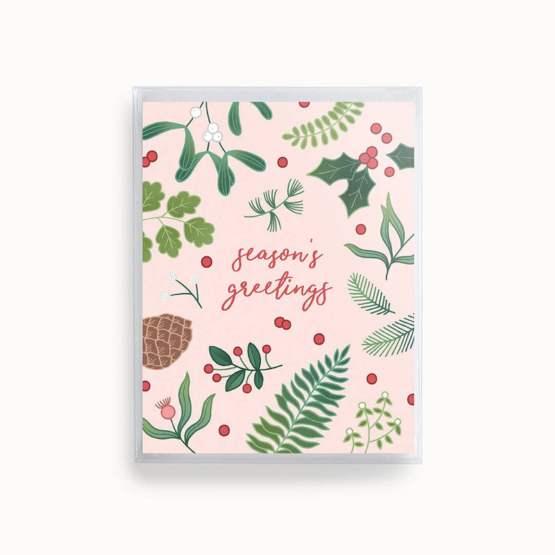 Boxed Set of 8 Pink Season's Greetings Cards