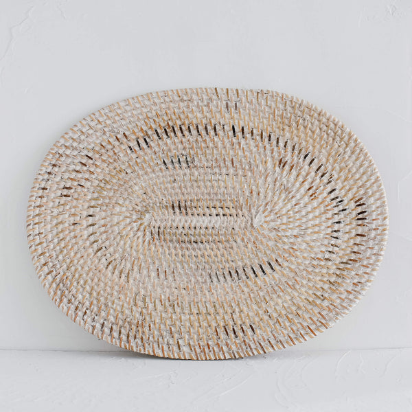 Whitewashed Ata Rattan Placemat