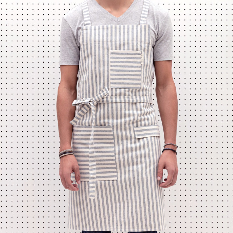 Crossback Bib Apron - Striped